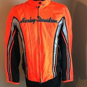 Harley Davison Sz Medium Orange Black Jacket